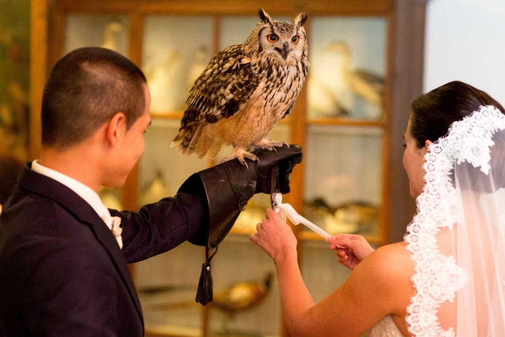 Aanvliegen trouwringen in ceremoniezaal
