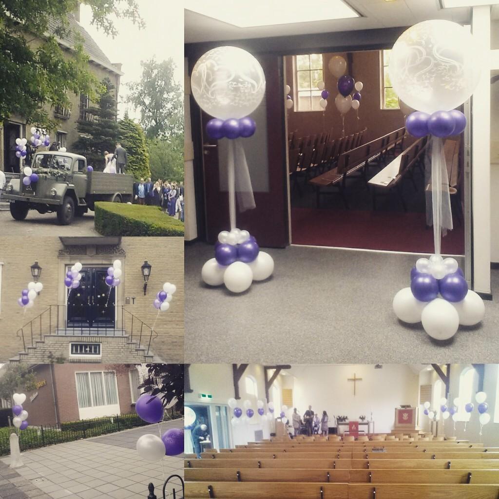 Heliumballonnen bruiloft bij stadhuis en kerk