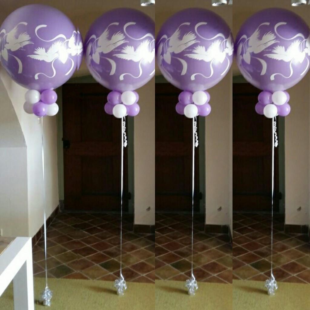 Helium topballonnen paars wit wedding