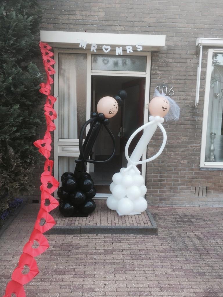 Ballonfiguur bruidspaar, vruid en bruidegom van ballonnen