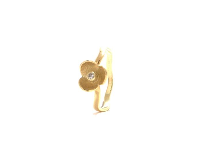 Fiore Mini, geelgoud, witte saffier
