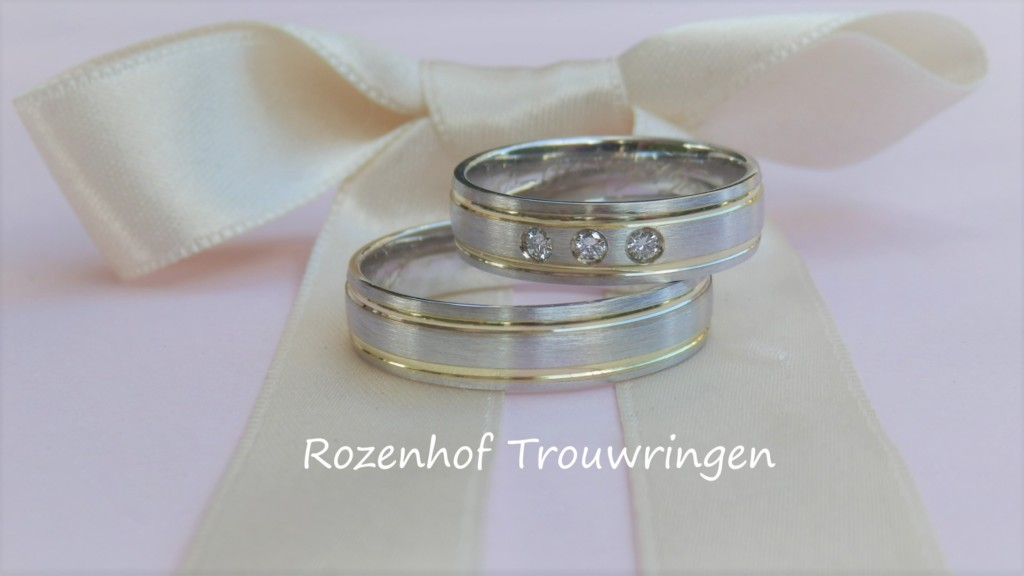 Bicolor trouwringen met diamanten