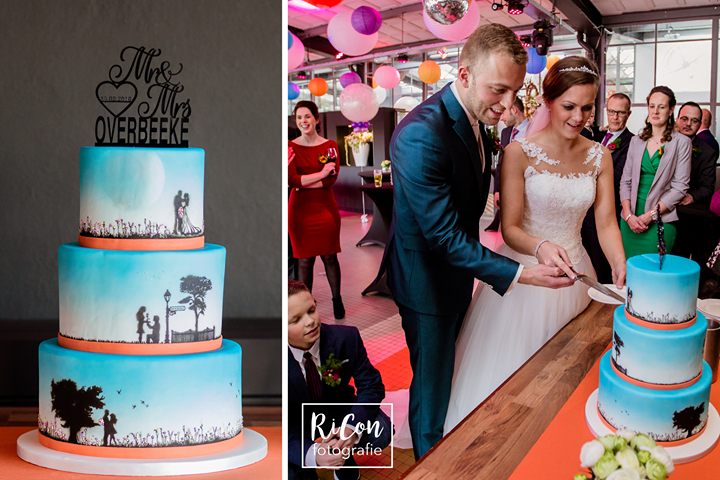 Bruidstaart met airbrush levenslijn, foto gemaakt door Ricon fotografie