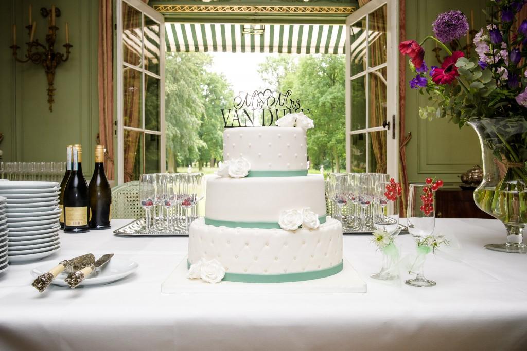 Bruidstaart met eucalyptus kleur band, chesterfield, icing stippen en handgemaakte rozen