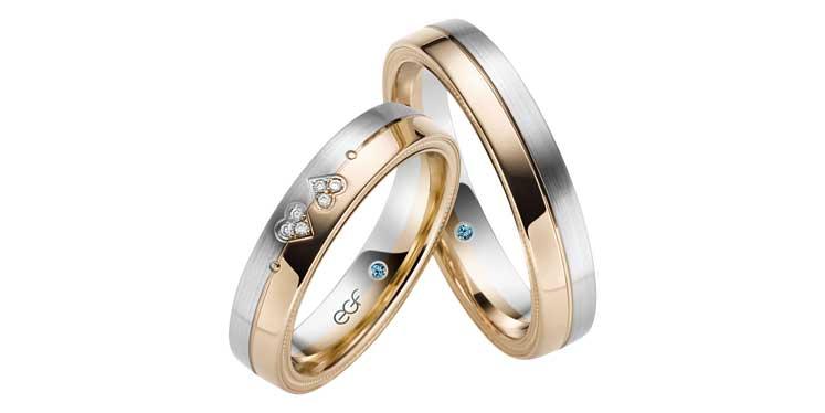 Leuke trouwringen met hart en diamant