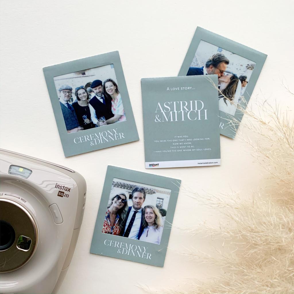 Fotogift en bedankje in één. Een instax foto met gepersonaliseerde sticker frames. Voor instax mini, square en wide. Eigen ontwerp in stijl van je trouwkaart.