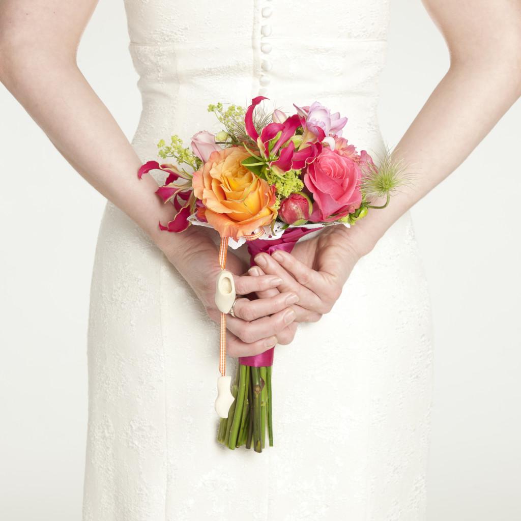 Bruidsboeket felle tinten
