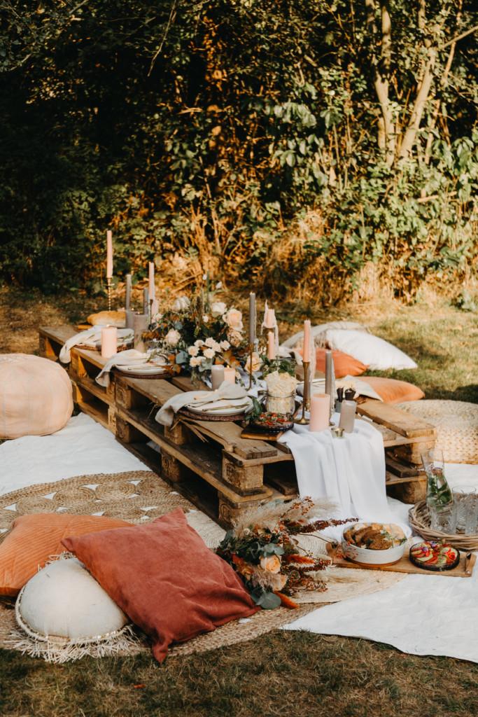 Picknick bruiloft diner